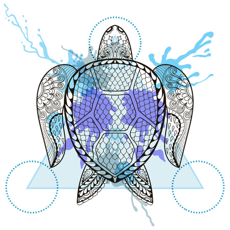 the ink drop: Zentangle stylized Turtle  in triangle frame with watercolor ink drop. Hand Drawn doodle vector sea reptile illustration. Sketch for tattoo or makhenda. Hipster artistically patterned animal print.