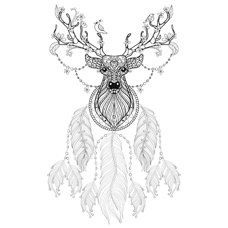 Hand Drawn Dreamcatcher With Tribal Hprned Deer Flowers And Birds For Adult Coloring Pages