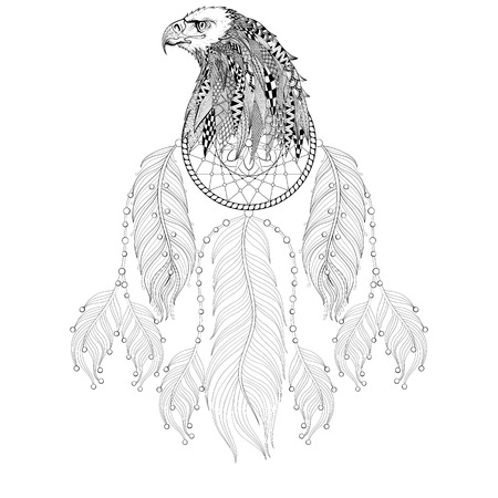 Hand drawn Dreamcatcher with Eagle head for adult coloring pages, post card, t-shirt print, Boho style. Isolated illustration in doodle, henna tattoo design.