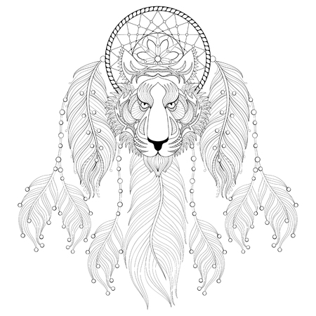 predators: Hand drawn Dreamcatcher with tribal Owl face for adult coloring pages, post card, t-shirt print, Boho style. Isolated illustration in doodle, henna tattoo design.