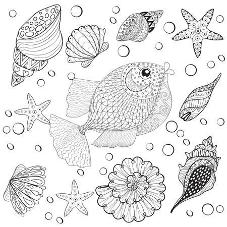 fish animal: Hand drawn Fish with sea shells for adult anti stress coloring pages, post card, mehendi t-shirt print,  logo icon. Isolated sea animal illustration in doodle, boho style, henna tattoo design. Illustration