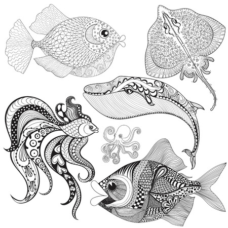 sketch drawing: Hand drawn Fishes, Whale, Octopus, Stingray for adult anti stress coloring pages,mehendi t-shirt print. Isolated sea animals set, illustration in doodle, boho style, henna tattoo design.