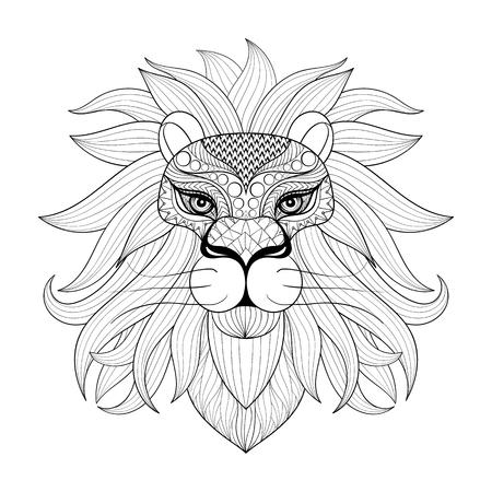 León Detallada En Línea Estilo Del Arte De Filigrana Azteca. Tatuaje ...
