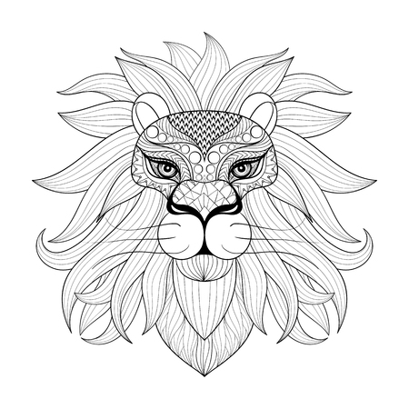 predators: Hand drawn Ornamental Lion for adult coloring pages, post card, mehendi t-shirt print. Isolated animal illustration in doodle, boho style, henna tattoo design.