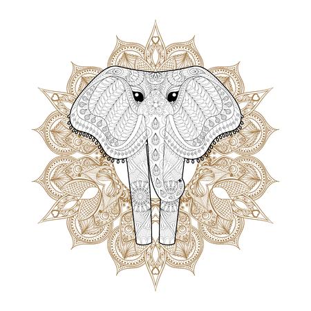 Ornamental Elephant Für Erwachsene Malvorlagen, Hand Gezeichnet Tier ...