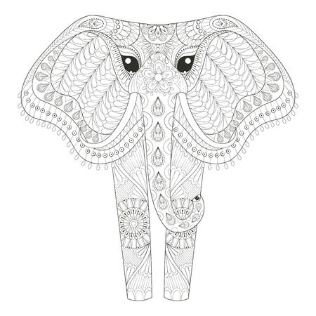 Ornamental Elephant For Adult Coloring Pages Hand Drawn Animal Post Card Mehendi T