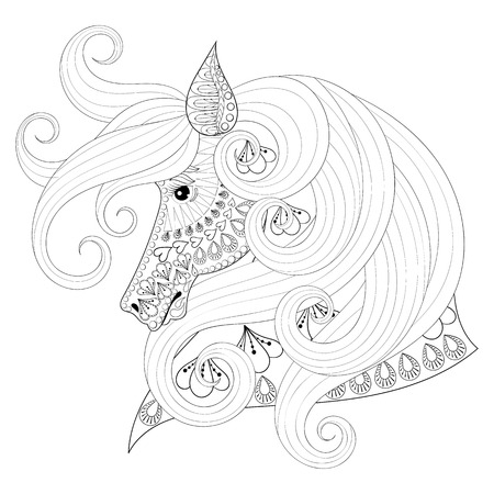 Hand Drawn Ornamental Horse For Adult Coloring Pages Post Card Mehendi T Shirt