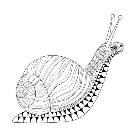 Dibujado a mano del caracol por un adulto Anti páginas para colorear el estrés, la postal, mehendi camiseta de impresión. ilustración animal en garabato, estilo boho, diseño de tatuaje de henna. Foto de archivo - 57081490