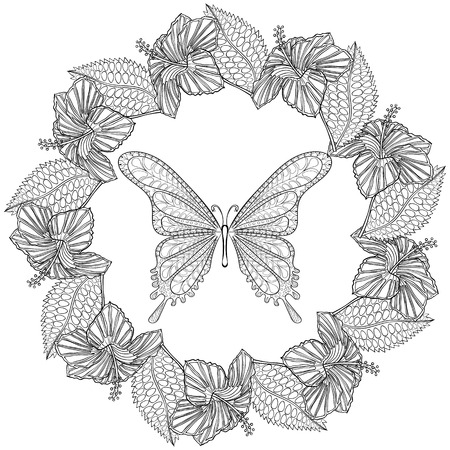 butterfly stationary: Hand drawn Butterfly in wreath of Hibiskus flower for adult anti stress coloring pages, t-shirt print. Boho, bohemian style. Isolated illustration in doodle, henna tattoo design. Illustration