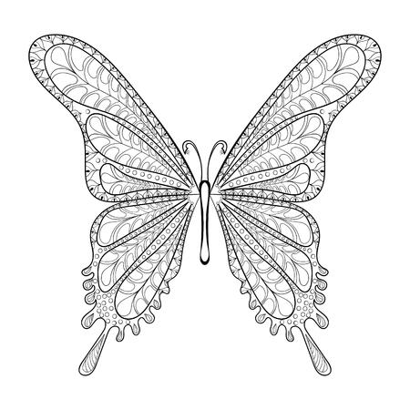 Kleurplaten Vlinders Voor Volwassenen.Hand Getekende Vector Vlinder Illustratie Geisoleerd Op Een Witte