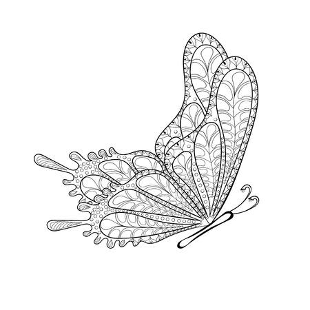 Ręcznie rysowane tribal motyl latający dla dorosłych anty stron stres barwiące, pocztówka, T-shirt druku. Boho, styl bohemy. Izolowane ilustracji w doodle, projekt henna tatuaż.