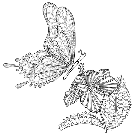 exotic butterflies: Hand drawn tribal flying Butterfly and Hibiskus flower for adult anti stress coloring pages, t-shirt print. Boho, bohemian style. Isolated illustration in doodle, henna tattoo design.