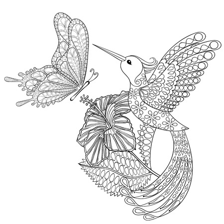 Hand drawn tribal flying butterfly, Hummingbird in hibiskus for adult anti stress coloring pages, t-shirt print. Boho, bohemian style. Isolated illustration in doodle, henna tattoo design.