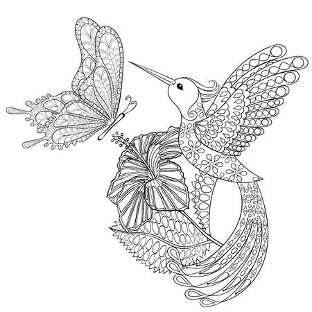 Hand getrokken stammen vliegende vlinder, Kolibrie in hibiskus voor volwassen anti-stress kleurplaten, t-shirt drukken. Boho, bohemian stijl. Geïsoleerde illustratie in krabbel, henna tattoo design.