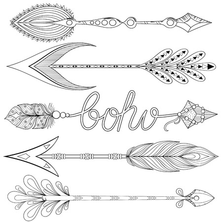 Bohemian Arrows set with feathers. Hand drawn decorative Arrows for adult coloring pages, art therapy, ethnic patterned t-shirt print, Boho chic style. Doodle Illustration, tattoo design.