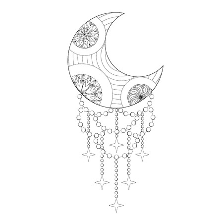 Bohemian Moon, Hand drawn artistic Moon for adult antistress coloring pages, art therapy, ethnic patterned t-shirt print, Boho tribal style. Isolated illustration in doodle, henna tattoo design. Illustration