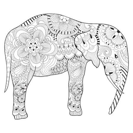 dessin au trait: Hand drawn Elephant avec mandala pour des pages à colorier antistress adultes, art thérapie carte postale, à motif t-shirt imprimé, le style Boho. illustration isolé dans griffonnage, conception de tatouage de henné. Illustration