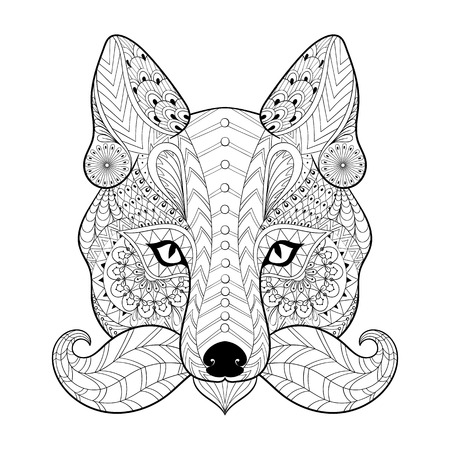 Hand drawn tribal Fox face for adult anti stress coloring pages, ethnic t-shirt print. Mascot Fox with mustache in bohemian style. Isolated illustration in doodle, henna tattoo design. Illustration