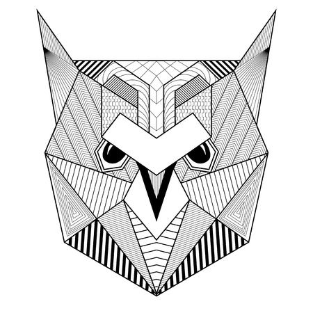 dibujado artística del pájaro del búho para colorear adultos antiestrés, arte postal de la terapia, camiseta de la impresión con dibujos geométricos, estilo tribal Boho mano. Ilustración aislada en el garabato, diseño de tatuaje de henna.