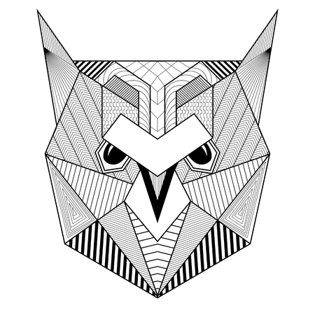 ink drawing: Hand drawn artistic Owl Bird for adult antistress coloring pages, art therapy post card, geometric patterned t-shirt print, Boho tribal style. Isolated illustration in doodle, henna tattoo design. Illustration