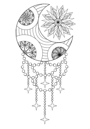 Bohemian Moon and Sun, Hand drawn Moon and Sun for adult antistress coloring pages, art therapy, ethnic patterned t-shirt, Boho tribal style. Doodle Illustration, henna tattoo design. A4.