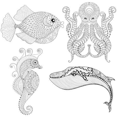 Dibujado a mano pulpo artística, caballo de mar, ballenas, Pescado para colorear terapia de adultos, étnica camiseta de la impresión. Conjunto del animal del océano. ilustración de garabato, diseño de tatuaje de henna.