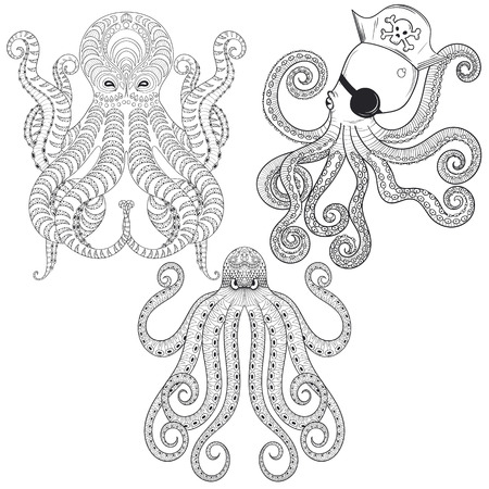 Tattoo Octopus set. Hand drawn tribal Octopuses for adult anti stress coloring pages, ethnic t-shirt print. Boho, bohemian style. Isolated illustration in doodle, henna tattoo design.