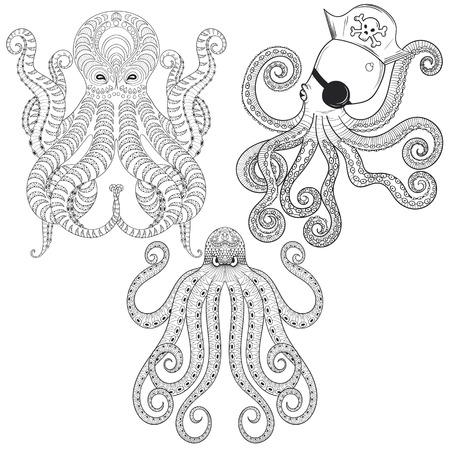 Tattoo set Octopus. Disegno a mano Polipi tribali per colorare adulti antistress, etnico T-shirt stampata. Boho, stile bohemien. Isolata l'illustrazione di Doodle, disegno henné tatuaggio. Vettoriali