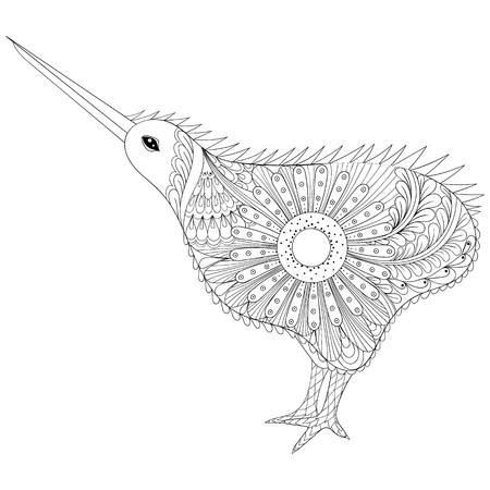 Hand Drawn Tribal Kiwi Bird Symbol Of New Zealand For Adult Anti Stress Coloring Pages