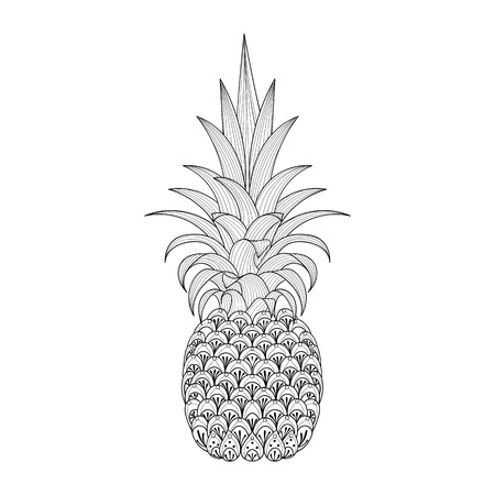 anti stress: Hand drawn ornate Pineapple, tribal exotic fruit for adult anti stress coloring pages, ethnic t-shirt print. Isolated illustration in doodle, henna tattoo design.