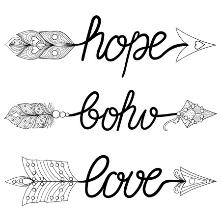 art therapy: Boho, Love, Hope Arrows. Hand drawn Signs with feathers. Decorative Arrows for adult coloring pages, ethnic patterned t-shirt print. Bohemian chic tribal style. Magic amulets, tattoo design.