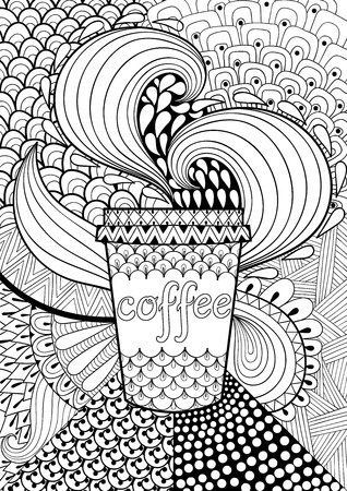 cocina caricatura: Café con dibujos de fondo para el libro de colorear para adultos. Dibujado a mano ilustración vectorial con la taza en estilo étnico, tribal. diseño doodle. tamaño A4. Tarjeta abstracta blanco y negro.