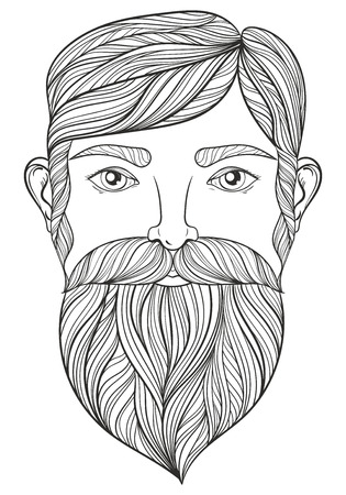 beard man: Vector Portrait of Man with Mustache and beard for adult coloring pages, Tattoo art, ethnic patterned t-shirt print. Monochrome hand drawn illustration in doodle style. A4 size.