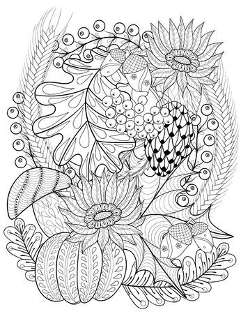 Vector Herbst Gemusterten Hintergrund Mit Eichenlaub, Sonnenblume ...