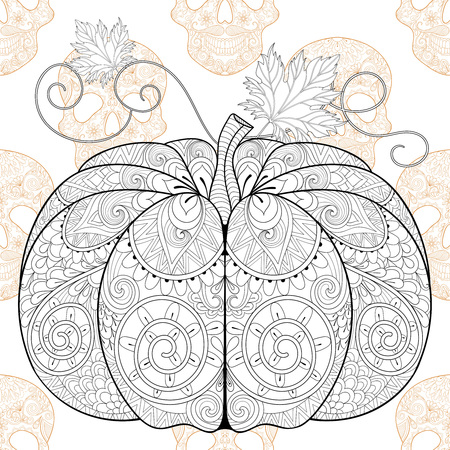 pumkin: stylized  Pumkin on Skull seamless pattern for Halloween, with artistically doodle elements. Ethnic ornamental vector illustration for tattoo, t-shirt print, adult coloring book Illustration