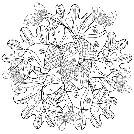 oak trees: Vector autumn patterned background with oak leaves and trees for adult coloring pages. Hand drawn artistic monochrome illustration in ethnic. Doodle design. A4 size. Illustration