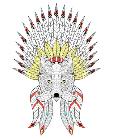 bonnet illustration: Vector Fox with War Bonnet and mustache. American headdress with color feathers for adult coloring pages, ethnic patterned t-shirt print, tattoo design. Boho chic style. Doodle Illustration. Illustration