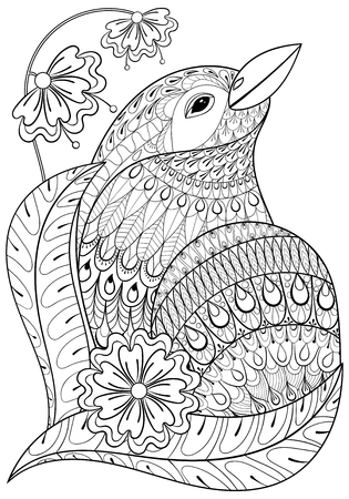 Exotic Bird In Flowers. Hand Drawn Ethnic Animal For Adult Coloring ...
