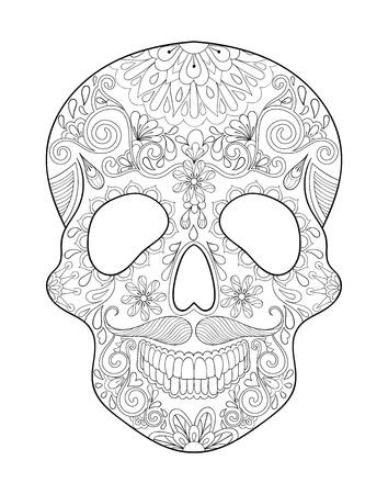 Estilizado Del Cráneo Para Halloween. Boceto A Mano Alzada Para ...