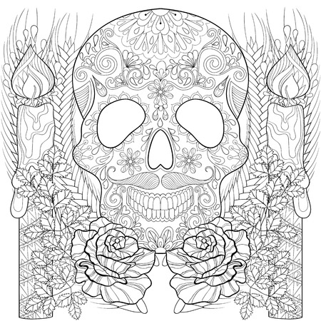 artistically: stylized Skull with candles, roses, ears for Halloween. Freehand sketch for adult coloring page, book with artistically doodle elements. Ornamental vector illustration for  t-shirt or prints