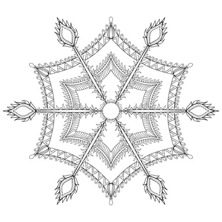 christmas tattoo: stylized winter snowflake for Christmas, New Year. Freehand artistic ethnic vector illustration for adult coloring pages, art therapy, bohemian tattoo, t-shirt patterned print, posters Illustration