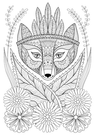 bonnet: wild fox with indian war bonnet in grass and flowers. Hand drawn ethnic free animal for adult coloring pages, boho t-shirt patterned print, posters. Vector isolated illustration. A4 Illustration