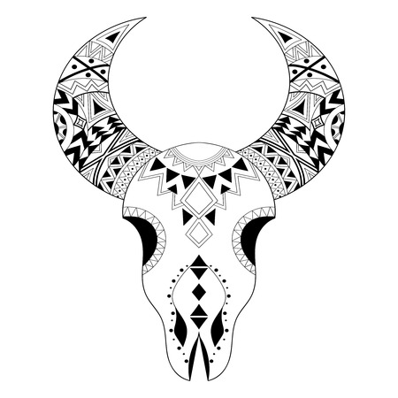 Cráneo Animal Zentangle Con Sun Y Flechas. Dibujado A Mano Tatuaje ...