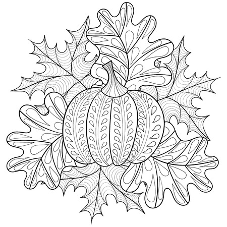 Vector autumn patterned background with pumpkin, maple and oak leaves for adult coloring pages. Hand drawn artistic monochrome illustration in ethnic, style. Doodle design.