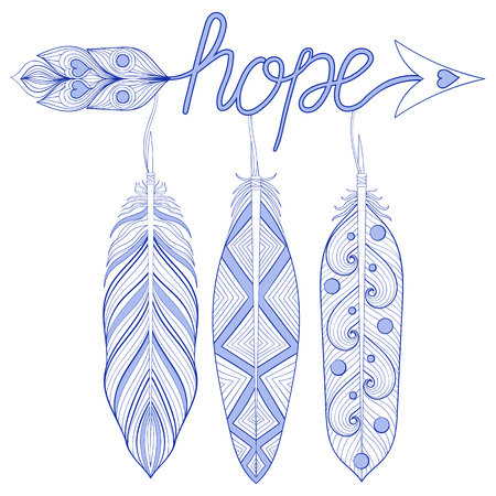 art therapy: Blue Bohemian Arrow, Hope Amulet with henna feathers. Decorative Arrows for adult coloring pages, art therapy, ethnic patterned t-shirt print. Boho chic style. Doodle Illustration, tattoo design.