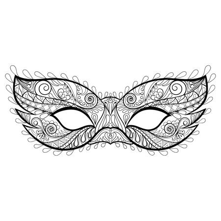 Boheemse feestelijke vector Masker silhouet voor volwassen kleurende pagina's, fashion print, hand getrokken etnische patroon t-shirt afdrukken. Boho chique stijl. Doodle illustratie, tattoo ontwerp.