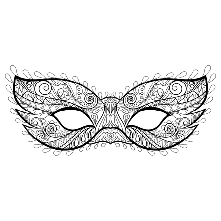 Bohemian festive  vector Mask silhouette  for adult coloring pages, fashion print, hand drawn ethnic patterned t-shirt print. Boho chic style. Doodle Illustration, tattoo design.
