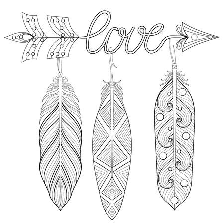 Ilustración Vectorial Corazón De Plumas Y Las Palabras Te Amo ...
