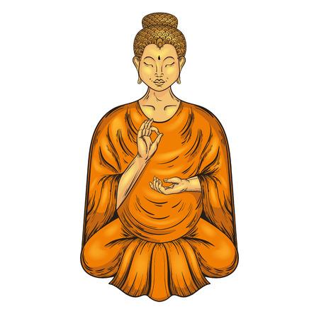buddha lotus: Happy Buddha sitting in Lotus pose, teaching Buddhism. Vector tattoo art, religion t-shirt print. Monochrome vintage hand drawn illustration.  Spiritual, yoga motifs, symbol of Tibet, Asia. Illustration
