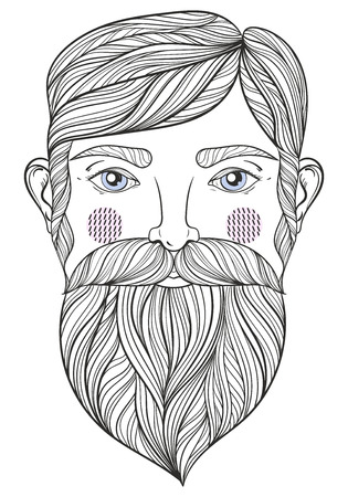 old hand: Vector Portrait of bearder Man with mustache for adult coloring pages, Tattoo art, ethnic patterned t-shirt print. Monochrome hand drawn illustration in doodle style. A4 size. Illustration